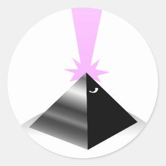 pirámide pegatina redonda