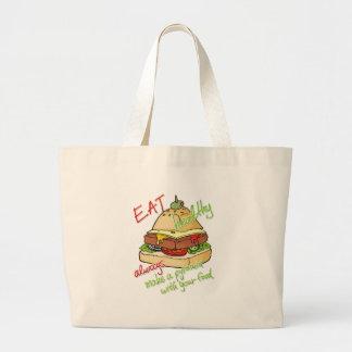 Pirámide sana de la hamburguesa de la consumición bolsa tela grande