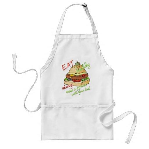 Pirámide sana de la hamburguesa de la consumición delantal