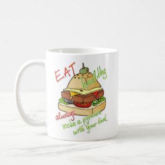 Pirámide sana de la hamburguesa de la consumición taza