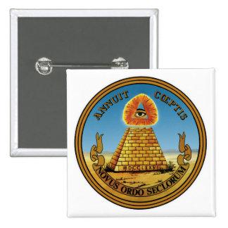 Pirámide y ojo - todo el ~ cuadrado del botón del pin cuadrado