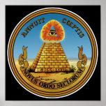 Pirámide y ojo - todo el ojo que ve - gran sello poster