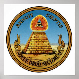 Pirámide y ojo - todo el ojo que ve - gran sello póster
