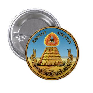 Pirámide y ojo - todo el ~ redondo del botón del pin redondo de 1 pulgada
