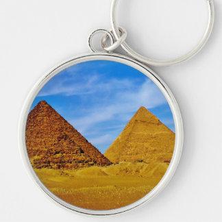 Pirámides de Giza Llavero Redondo Plateado