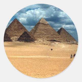 Pirámides de Gizeh Pegatina Redonda
