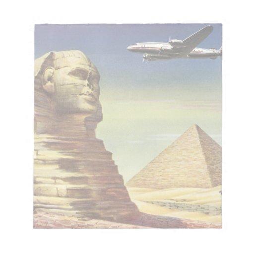 Pirámides Egipto Giza del desierto del aeroplano d Blocs De Papel