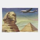 Pirámides Egipto Giza del desierto del aeroplano d Toallas De Cocina
