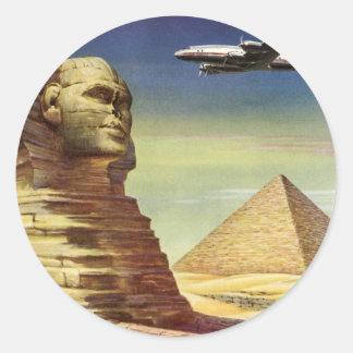 Pirámides Egipto Giza del desierto del aeroplano d Etiquetas Redondas