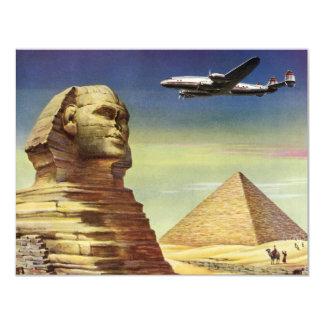 """Pirámides Egipto Giza del desierto del aeroplano Invitación 4.25"""" X 5.5"""""""