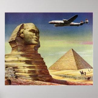 Pirámides Egipto Giza del desierto del aeroplano Póster