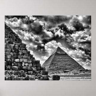 Pirámides en Giza, El Cairo, Egipto Póster
