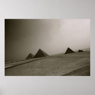 Pirámides negro y blanco de Giza Póster