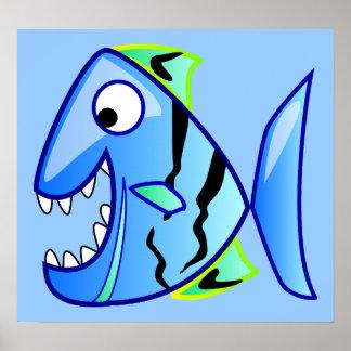 piraña azul de los apps del tema de los pescados póster