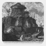 Piranesi-Elevación de Juan de la tumba de Scipios Calcomanias Cuadradas