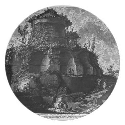 Piranesi-Elevación de Juan de la tumba de Scipios Platos De Comidas