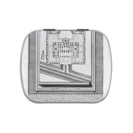 Piranesi-Plan de Juan de los baños de Diocletian Frascos De Dulces