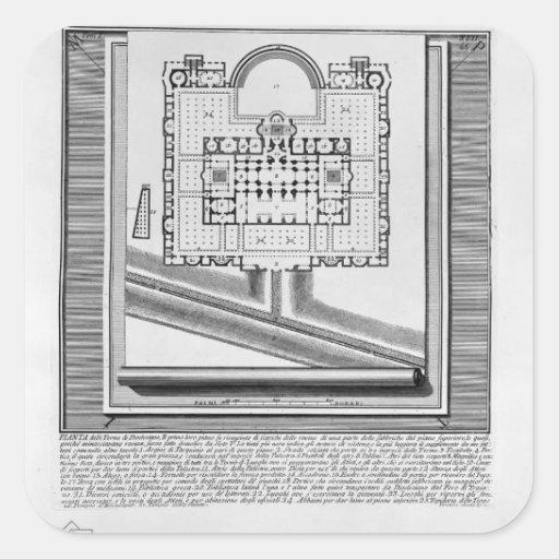 Piranesi-Plan de Juan de los baños de Diocletian Pegatina Cuadrada