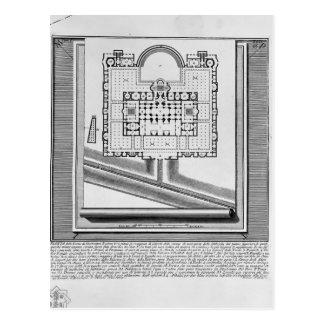 Piranesi-Plan de Juan de los baños de Diocletian Tarjetas Postales