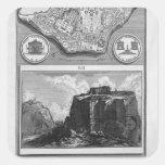 Piranesi-Plan de Juan del foro romano antiguo Calcomanias Cuadradas