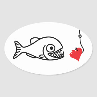 Piranha bites heart on hook anti valentines day oval sticker