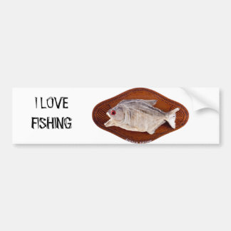 Piranha fish as trophy on wood isolated bumper sticker