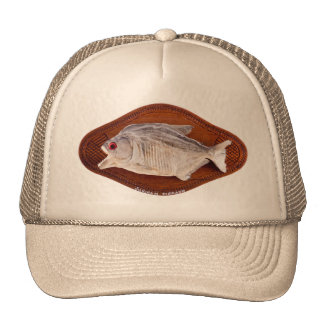 Piranha fish as trophy on wood isolated trucker hat