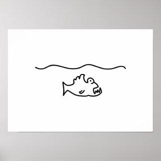 piranha fish bit tooth poster