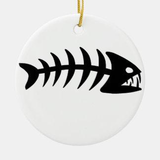 Piranha Fish Bone Round Ceramic Decoration