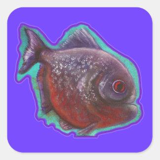 Piranha Fish Square Sticker