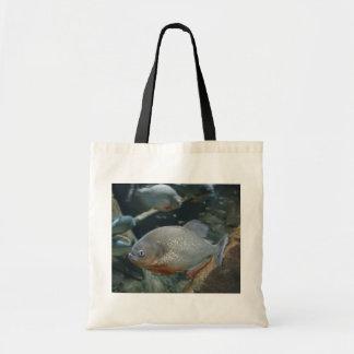 Piranha fish swimming color photograph tote bags
