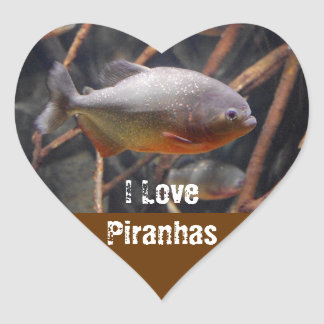 Piranha - Innocent Looking Brown Fish Heart Sticker