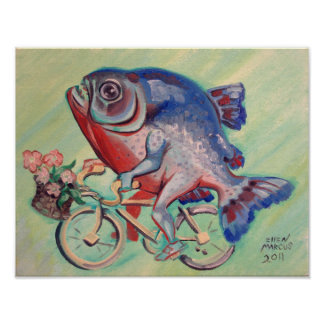 Piranha On A Bicycle Poster