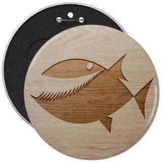 Piranha silhouette engraved on wood design pinback button