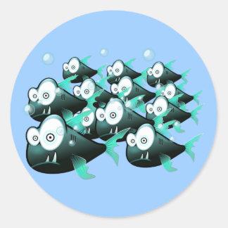 Piranhas Classic Round Sticker