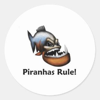 Piranhas Rule! Classic Round Sticker