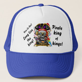 Pirare Dee Jay Bone and Parrot View Comments Trucker Hat