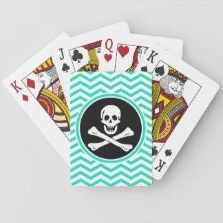 Pirata; Aguamarina Chevron verde Cartas De Juego
