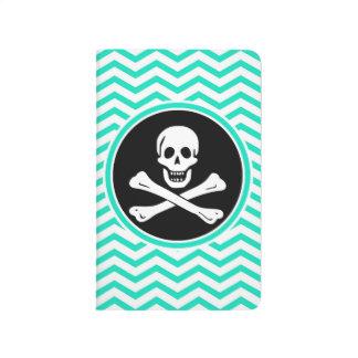 Pirata; Aguamarina Chevron verde Cuadernos Grapados