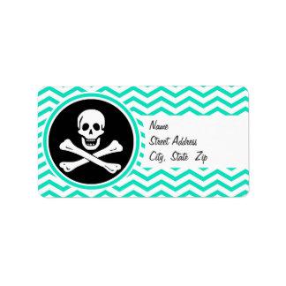 Pirata; Aguamarina Chevron verde Etiquetas De Dirección