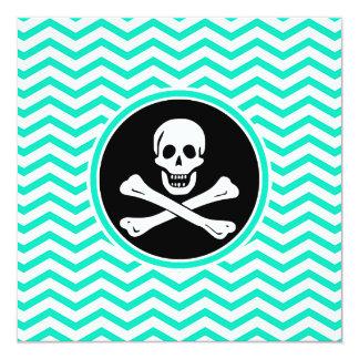 Pirata; Aguamarina Chevron verde Comunicados Personalizados