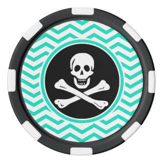 Pirata; Aguamarina Chevron verde Juego De Fichas De Póquer