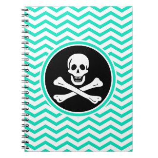 Pirata; Aguamarina Chevron verde Cuadernos