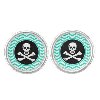 Pirata; Aguamarina Chevron verde Mancuernillas