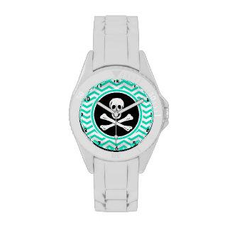 Pirata Aguamarina Chevron verde Relojes De Mano