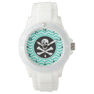 Pirata; Aguamarina Chevron verde Relojes De Pulsera