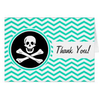 Pirata; Aguamarina Chevron verde Felicitación