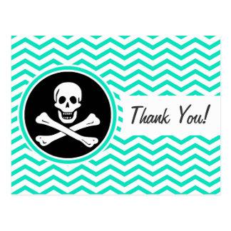 Pirata; Aguamarina Chevron verde Tarjeta Postal