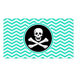 Pirata; Aguamarina Chevron verde Tarjetas De Visita