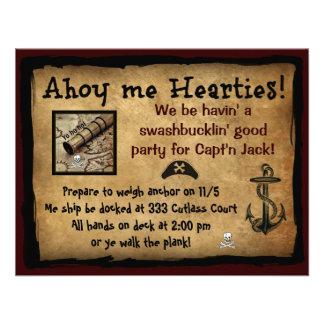 ¡Pirata Ahoy yo Hearties El fiesta invita Anuncios Personalizados